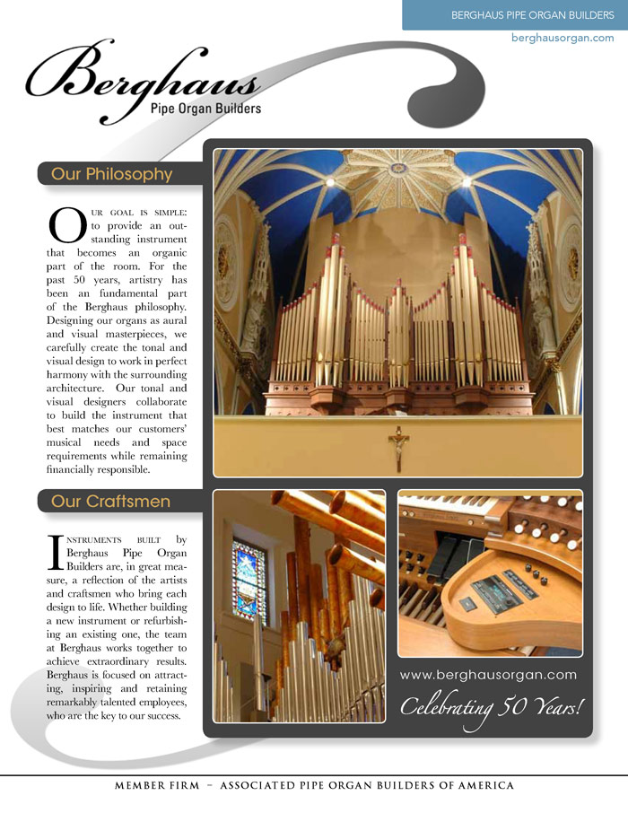 Prospectus Page 1 for Berghaus Pipe Organ Builders