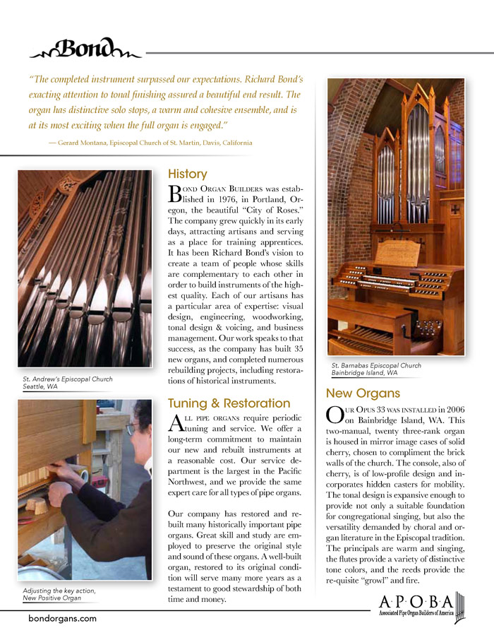Prospectus Page 2 for Bond Organ Builders