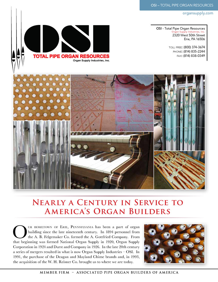 Prospectus Page 1 for OSI - Total Pipe Organ Resources