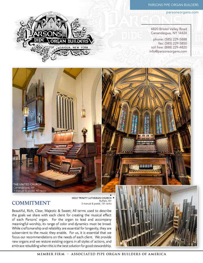 Prospectus Page 1 for Parsons Pipe Organ Builders