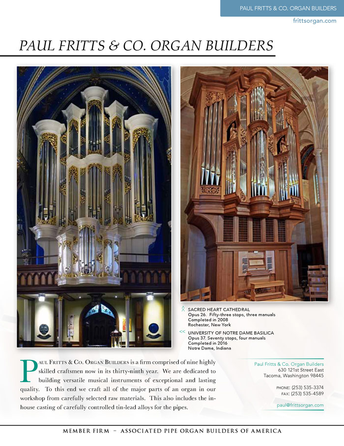 Prospectus Page 1 for Paul Fritts & Co. Organ Builders