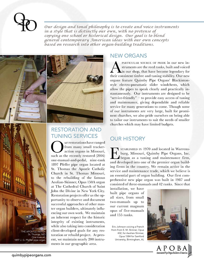 Prospectus Page 2 for Quimby Pipe Organs